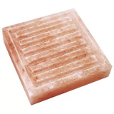Соляная плитка для жарки с бордюром и канавками 4*20*20 см в подар. коробке