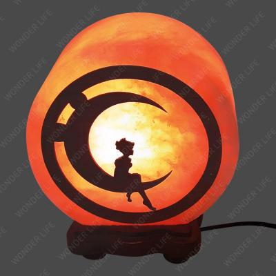 Соляная лампа «КРУГ- 5 дюймов с дерев. картиной Мальчик на луне» - 1