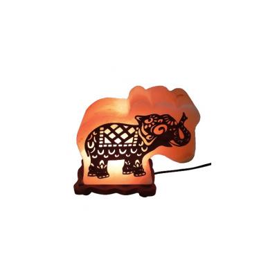 Соляная лампа СЛОН с дерев. картинкой 4-5 кг - 1