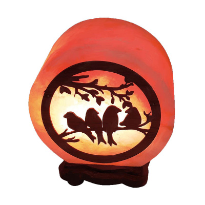 Соляная лампа «КРУГ- 7 дюймов с дерев. картиной ПТИЧКИ» - 1